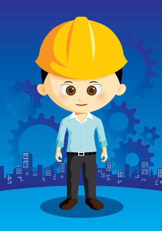 cartoon engineer with city and gear on background Vector