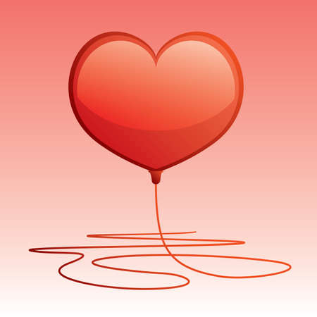 dimensionally: vector of red heart shaped balloon Illustration