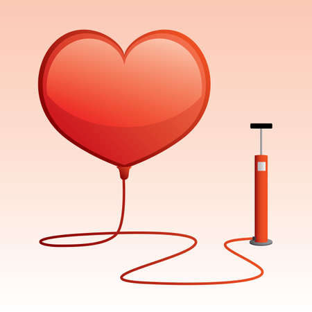 dimensionally: heart shaped balloon with tire pump Illustration