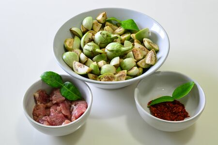 Eggplant with Curry Paste and Tenderloin, Raw food for Thai Curry Stock Photo