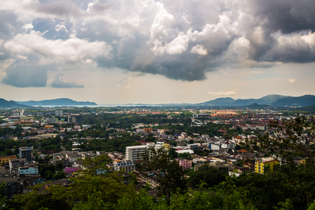 Phuket Landscape aerial view from Khao Rang, Building and street in checkpoint of Thailand Stock Photo