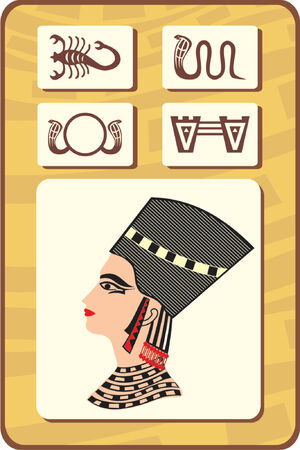 tutankhamen: set of egyptian symbols - scorpio, serpent, sun, Adhere to Path and a face of pharaoh