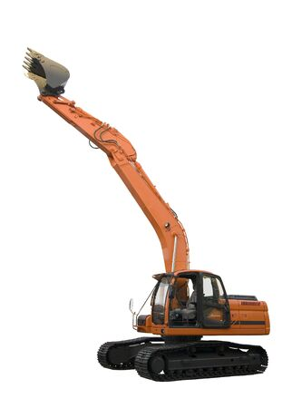 excavator isolated on perfectly white background with clipping paths photo