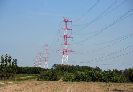 the new power line in Kornik (Poland) photo