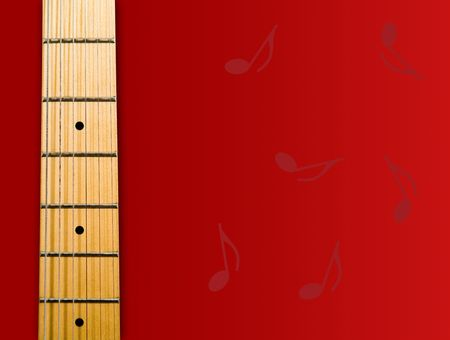 fender stratocaster: guitars neck over red background with notes - hi res 12,7 mpix
