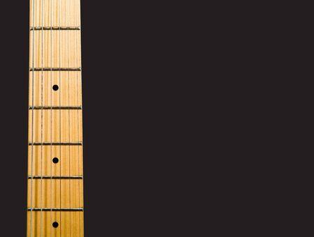 fender stratocaster: guitars neck over black background with notes - hi res 12,7 mpix