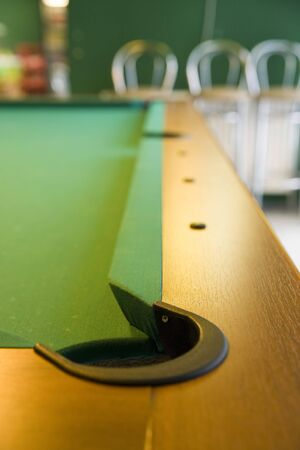 sharpness: corner of pool table with pocket and small field of depth