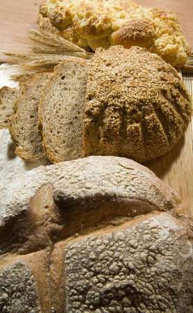 three kinds of fresh and well smelled bread photo