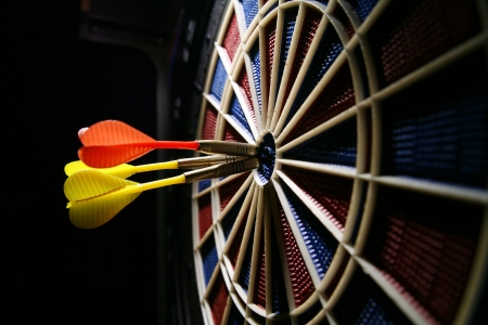 tercet: dart board in the bar Stock Photo