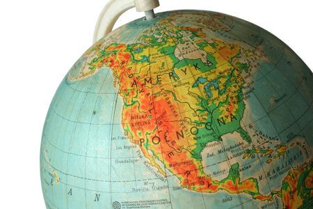 parallel world: piece of globe with the United States Stock Photo