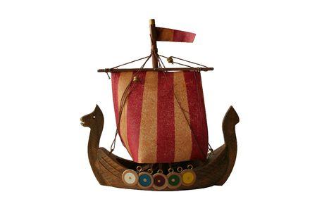 model of viking boat isolated on white background