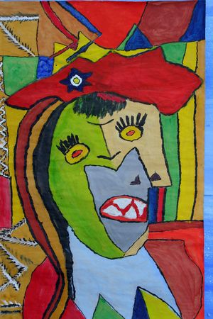 mentally: portrait of woman painted by handicapped child