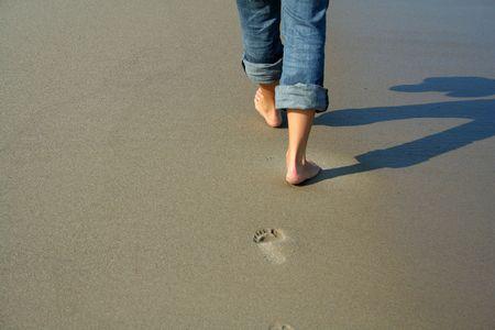 baltic: woman walking on the beach - Baltic sea Stock Photo