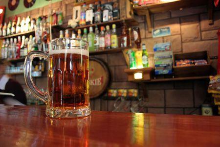 mug of beer on the bartop