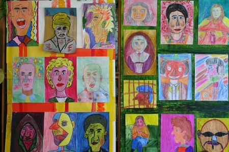 mentally: few images painted by handicapped kids Stock Photo