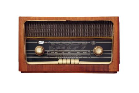 old antique wooden radio of my grandparents - isolated on white background