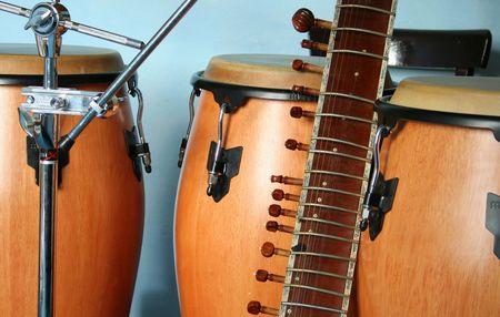 bongos: old sitar and three bongos