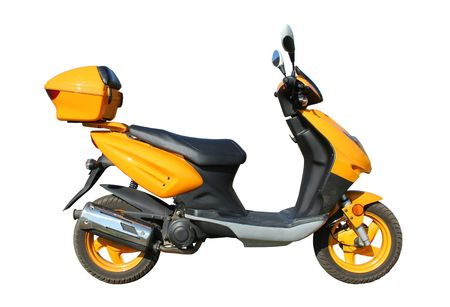 yellow scooter isolated on white background witn clipping path
