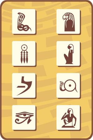 serpiente cobra: Conjunto de ocho s�mbolos de Egipto