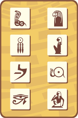 ancient relics: set of eight egyptian symbols