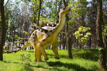 carboniferous: Jurrasic park - set of dinosaurs - Kentrosaurus aethiopicus Stock Photo