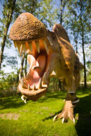 horrific: Jurrasic park - set of dinosaurs - mouth of Spinosaurus aegyptiacus Stock Photo