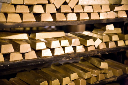 golden bars in gold mine in Zloty Stok (Poland)