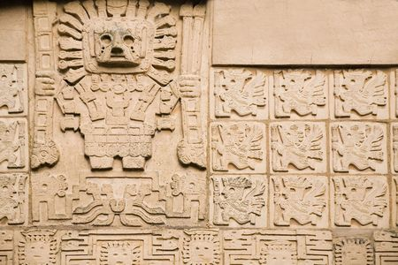 inscriptions: aztec background - showing ancient god and some inscriptions