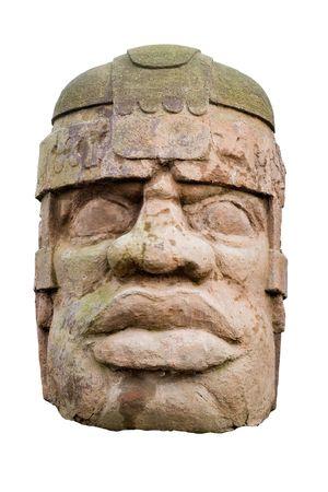 Alten olmec Kopf isoliert auf weißem Hintergrund Standard-Bild - 2159342