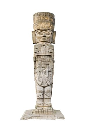ancient aztec statue isolated on white background