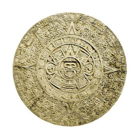 Alten aztekischen Kalender isoliert auf weißem Hintergrund Standard-Bild - 2159344