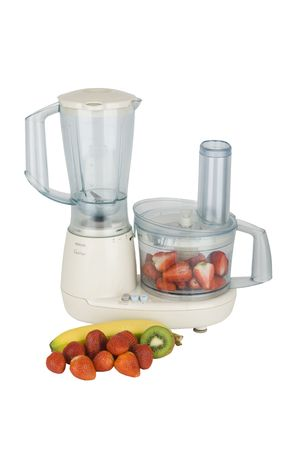 fresh fruits ready to chop in electric mixer  photo