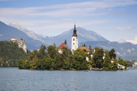 Panorama of Bled Lake - one of the most beautiful regions of Julian Alps in Slovenia photo