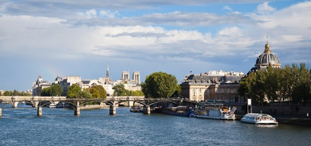Pris panorama - view on Pont des Arts and Notre Dame Cathedral photo