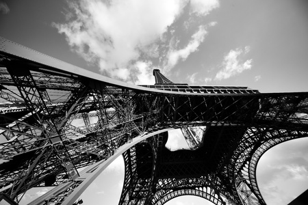 a wide angle view of Eiffel Tower