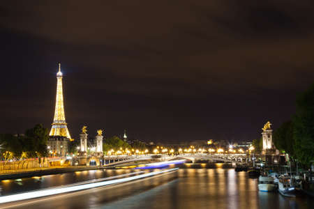 seine: a view of Paris at night Editorial