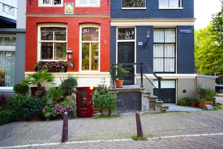 Black And Red Painted Houses In Amsterdam Center Stock Photo   13096976