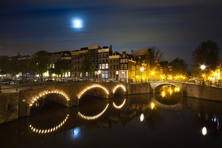 Amsterdam canal on night panorama - long time exposure