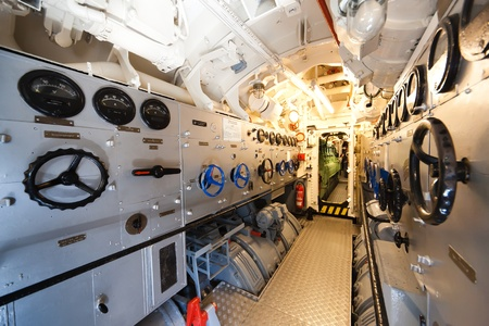 engine room: German world war 2 submarine - electric engine room - ultra wide angle photo Editorial