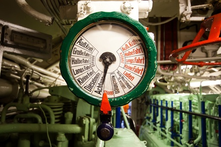 engine room: German world war 2 submarine type VIIC41 - telegraph in diesel engine compartment  Editorial