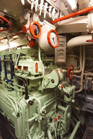 German world war 2 submarine type VIIC41 - electric engine room - ultra wide angle photo
