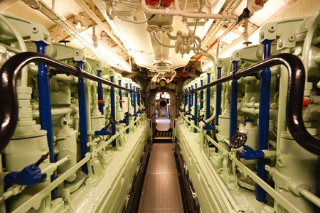 engine compartment: German world war 2 submarine type VIIC41 - diesel engine compartment - ultra wide angle photo Editorial