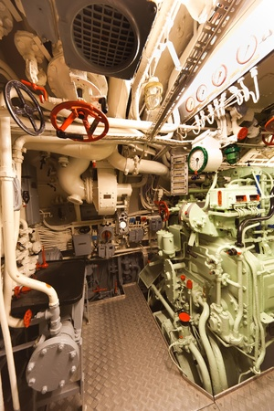 compartments: German world war 2 submarine type VIIC41 - diesel engine compartment - ultra wide angle photo Editorial