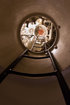 German world war 2 submarine type VIIC/41 -  inside of conning tower - ultra wide angle photo photo