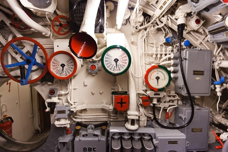 German world war 2 submarine type VIIC/41 - command center - ultra wide angle photo