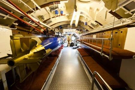 German world war 2 submarine type VIIC 41 - torpedo compartment - ultra wide angle photo Stock Photo - 16652588