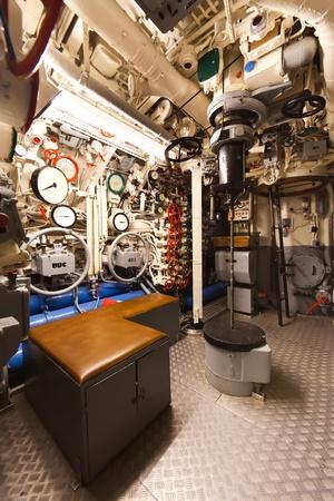 engine room: German world war 2 submarine type VIIC 41 - command center - ultra wide angle photo