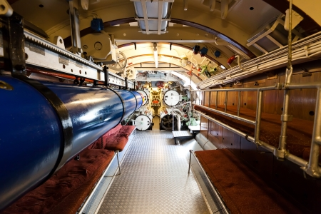 German world war 2 submarine type VIIC 41 - torpedo compartment - ultra wide angle photo