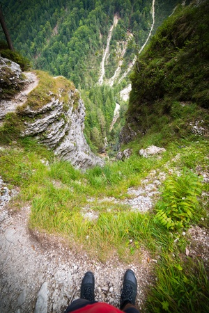 abyss: Deep void in Julian Alps in Slovenia - ultra wide photo Stock Photo