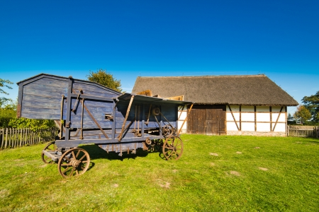 rustical: Old rural barn in polish heritage park and threshing-machine - XIXth century